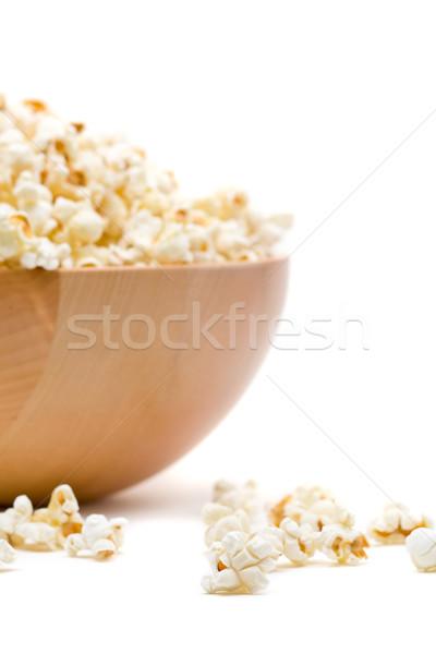 Popcorn puchar biały drewna zdrowia Zdjęcia stock © ShawnHempel