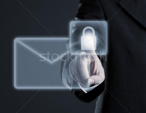 Proteger e-mail virtual tela sensível ao toque empresário tocante Foto stock © ShawnHempel