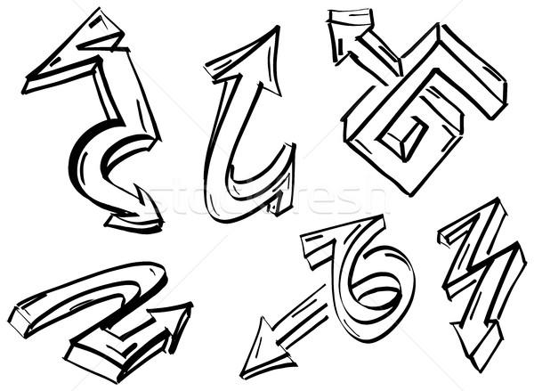 набор граффити Стрелки коллекция различный маркер Сток-фото © ShawnHempel