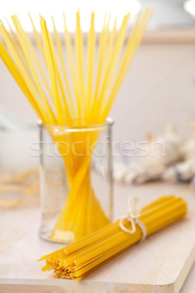タリアテーレ パスタ 木製のテーブル キッチン 食品 ストックフォト © ShawnHempel