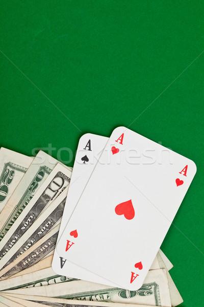 Pénz póker zseb ászok dollár bankjegyek asztal Stock fotó © ShawnHempel