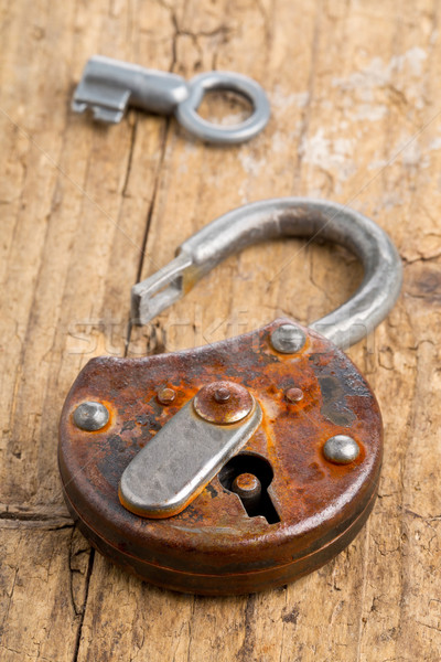 Open antique padlock with key Stock photo © ShawnHempel