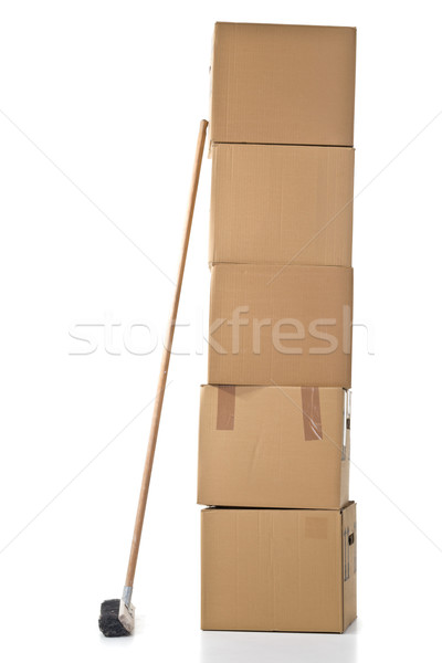 Moving carton boxes stack with broom Stock photo © ShawnHempel