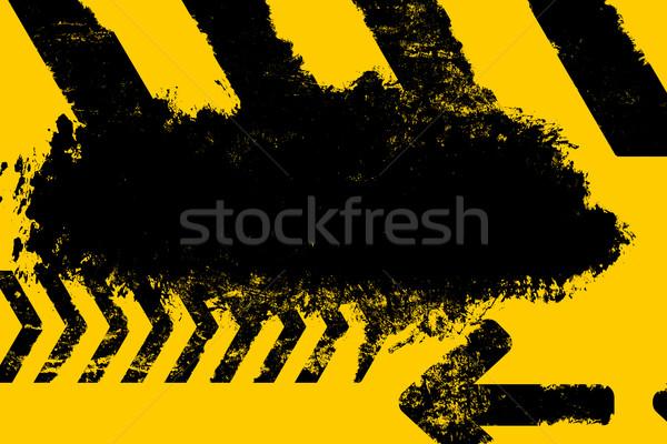 Grunge distressed yellow road marking paintbrush stroke stripes  Stock photo © ShawnHempel
