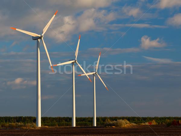ストックフォト: 風車 · 電源 · 日没 · 青空 · 自然 · 技術