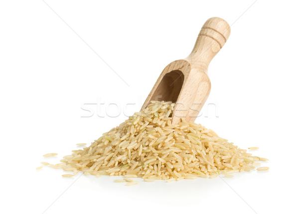 Természetes barna rizs fából készült merítőkanál fehér Stock fotó © ShawnHempel