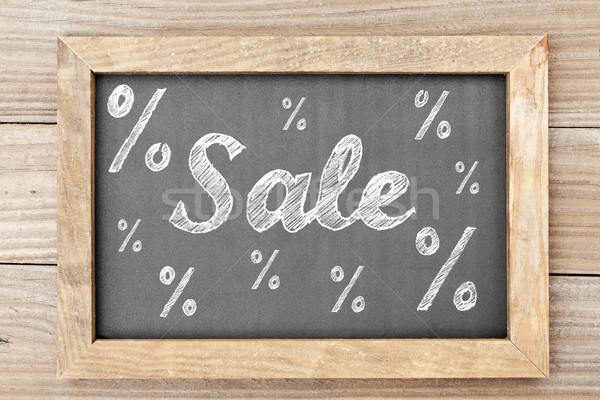 Venda giz escrita percentagem sinais quadro-negro Foto stock © ShawnHempel