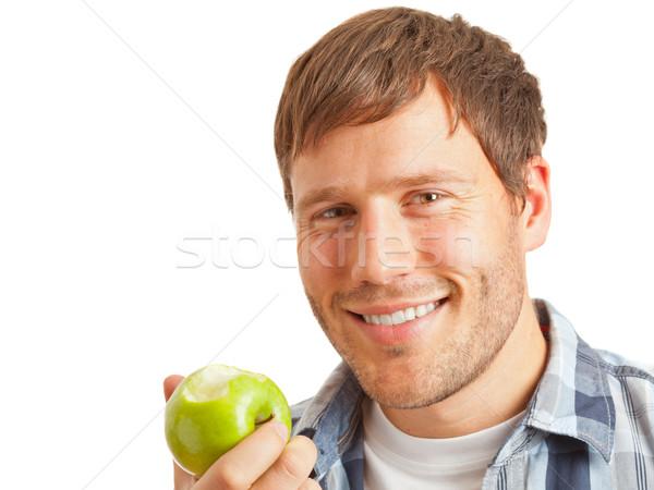 Młody człowiek jabłko jedzenie zdrowa dieta żywności owoców Zdjęcia stock © ShawnHempel