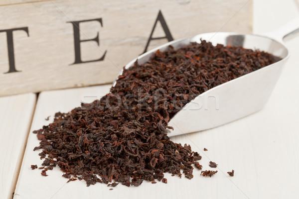 Fekete tea termény Ceylon fém merítőkanál Stock fotó © ShawnHempel