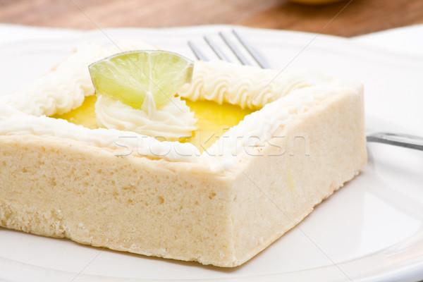 Photo stock: Citron · tarte · délicieux · gâteau · plaque · fourche