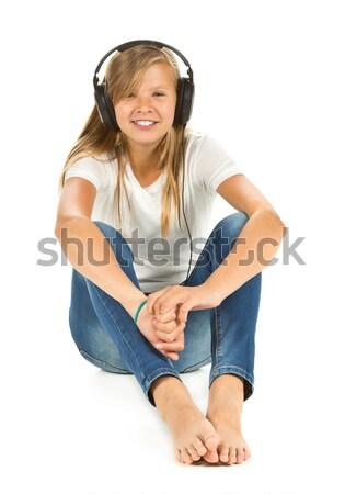 若い女の子 座って 階 音楽を聴く 白 ヘッドホン ストックフォト © ShawnHempel