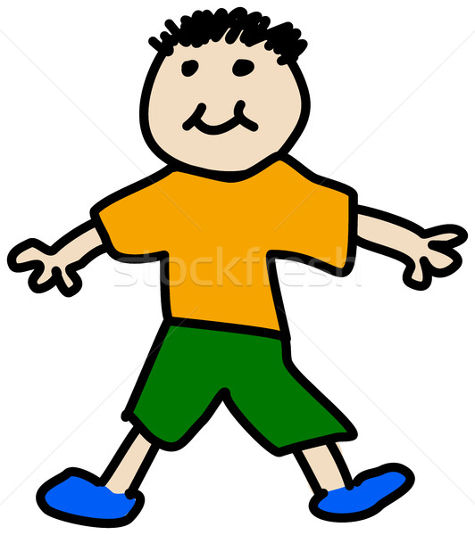 Simple child stickman illustration drawing of boy in t-shirt and Stock photo © ShawnHempel