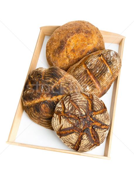 хлеб лоток четыре различный ручной работы Сток-фото © ShawnHempel