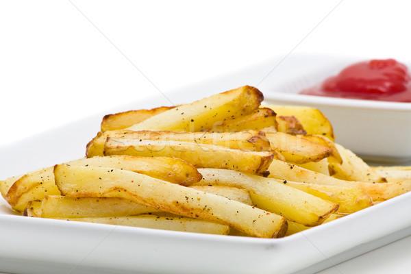 Frites françaises délicieux plaque blanche main Photo stock © ShawnHempel