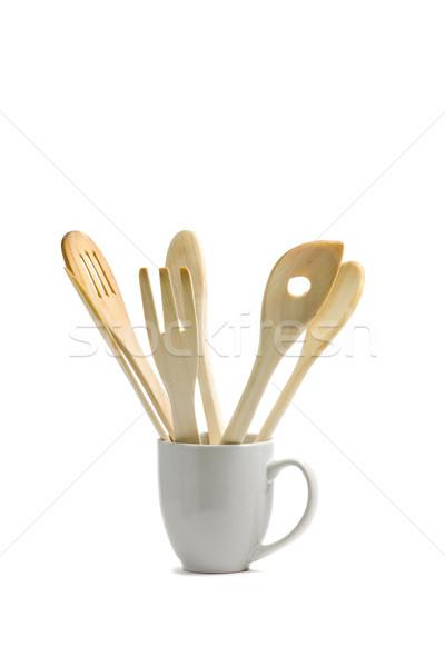 Legno set Cup bianco sfondo Foto d'archivio © ShawnHempel