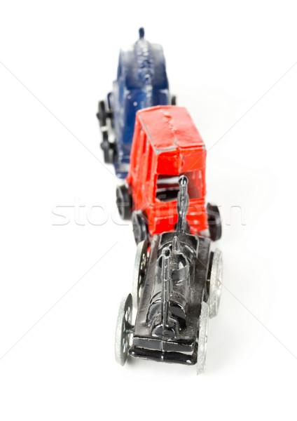 Metaal speelgoed trein locomotief witte oude Stockfoto © ShawnHempel