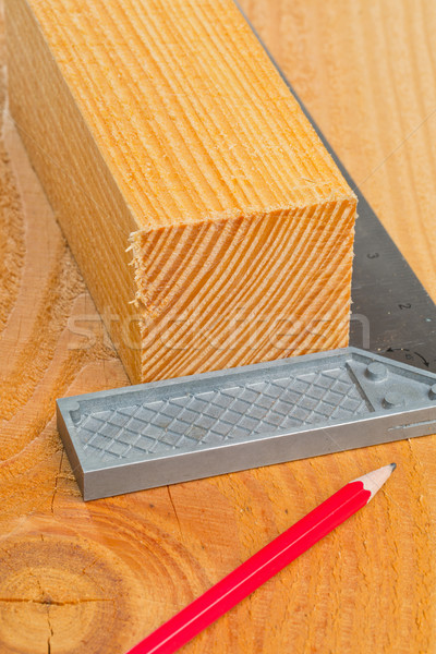 Cut wood with try square and pencil Stock photo © ShawnHempel