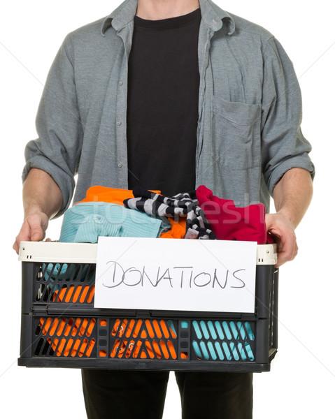 Man vak kleding donaties witte Stockfoto © ShawnHempel