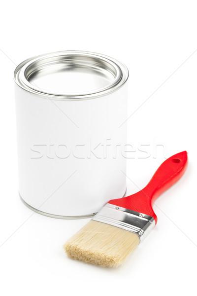 Vernice strumenti rosso pennello secchio di vernice isolato Foto d'archivio © ShawnHempel