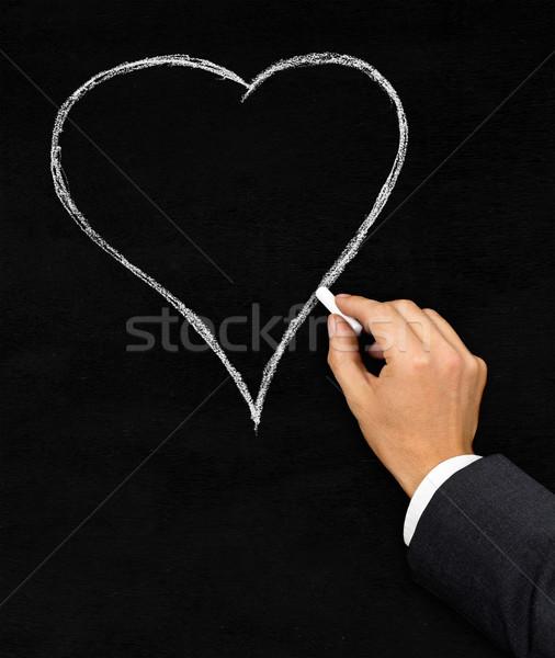 сердце рисунок мелом доске мужчины бизнесмен рисунок Сток-фото © ShawnHempel