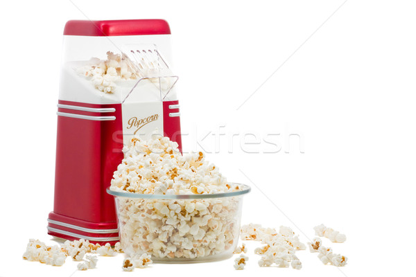Pipoca máquina branco fundo vermelho milho Foto stock © ShawnHempel