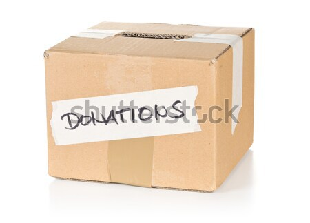 Recycled brown paper bag over white background Stock photo © ShawnHempel