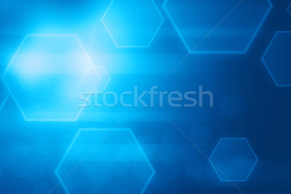 аннотация синий шестиугольник линия технологий Сток-фото © ShawnHempel