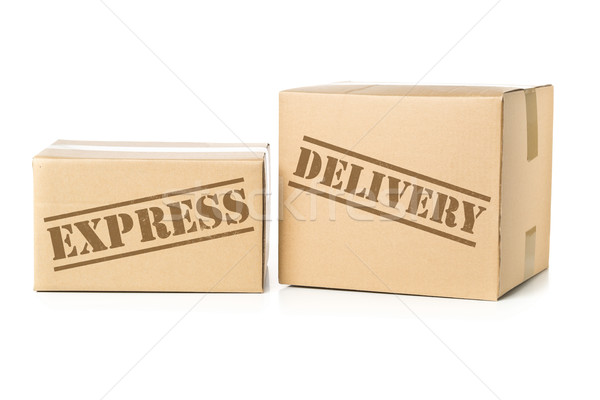 Two carton parcels with Express Delivery imprint Stock photo © ShawnHempel