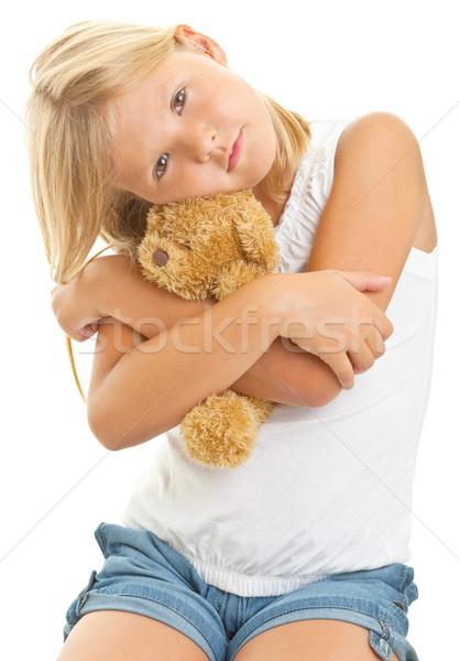 Giovane ragazza orsacchiotto isolato bianco bambino giocattolo Foto d'archivio © ShawnHempel