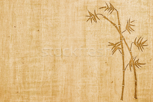 Bambú tinta dibujo papel espacio de la copia madera Foto stock © ShawnHempel