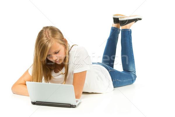 若い女の子 階 ラップトップを使用して 白 女性 顔 ストックフォト © ShawnHempel