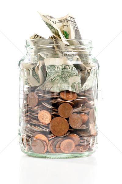 Penny jar Open bank merkt witte Stockfoto © ShawnHempel
