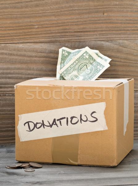 Stock fotó: Adomány · kartondoboz · dollár · bankjegyek · érmék · karton