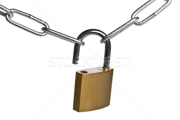 Nyitva sárgaréz lakat kapcsolódik kettő lánc Stock fotó © ShawnHempel