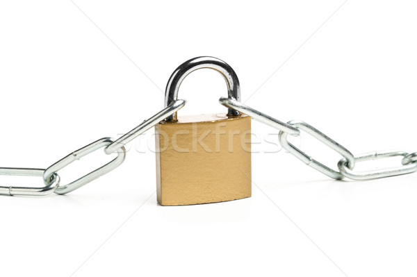 Brass padlock connecting two chains over white background Stock photo © ShawnHempel