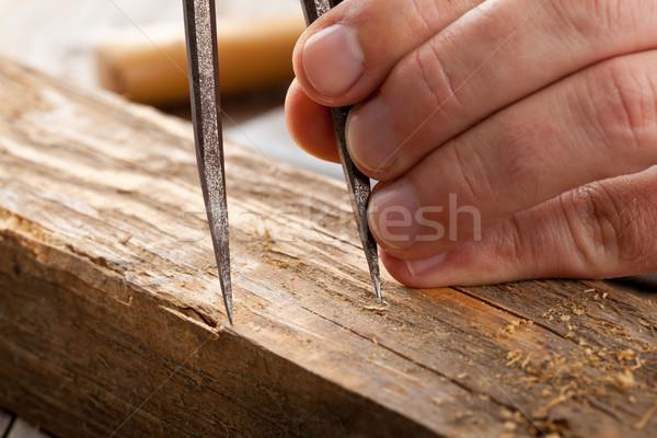 ремесленник плотник старые древесины рук Сток-фото © ShawnHempel