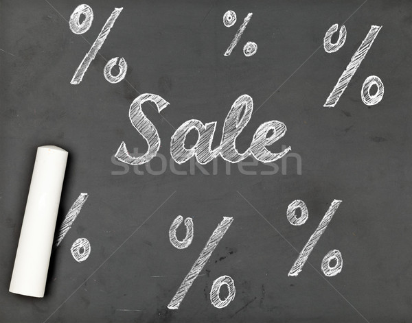 Sale chalk writing with percentage signs on chalkboard Stock photo © ShawnHempel