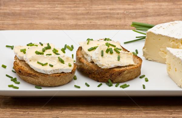Krem peynir lezzetli taze ekmek Stok fotoğraf © ShawnHempel