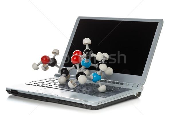 Bal stick chemische model laptop computer toetsenbord Stockfoto © ShawnHempel