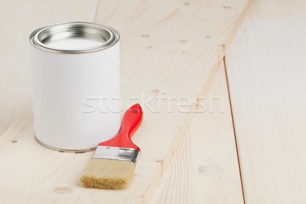 Pittura preparazione rosso pennello secchio di vernice legno Foto d'archivio © ShawnHempel