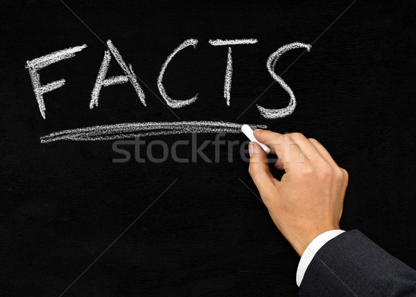 'Facts' written on blackboard by businessman Stock photo © ShawnHempel
