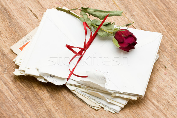 Amore lettere vintage Rose Red legno fiore Foto d'archivio © ShawnHempel
