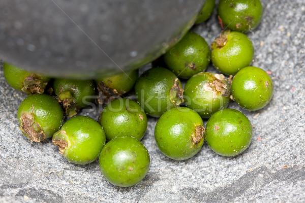 Green peppercorns in mortar Stock photo © ShawnHempel