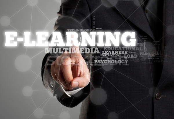 Man activating e-learning in wordcloud Stock photo © ShawnHempel