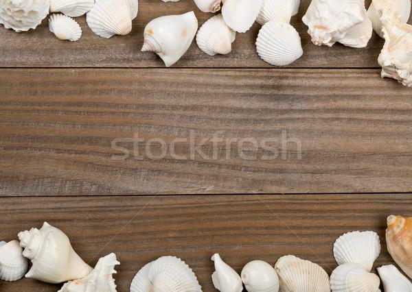 Seashell frame on brown wooden boards  Stock photo © ShawnHempel