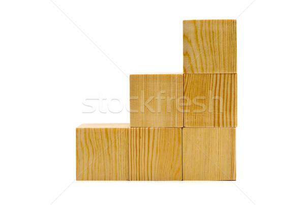 Brązowy drewna schody biały Zdjęcia stock © ShawnHempel