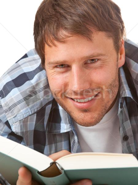 Genç öğrenci okuma kitap yalıtılmış beyaz Stok fotoğraf © ShawnHempel