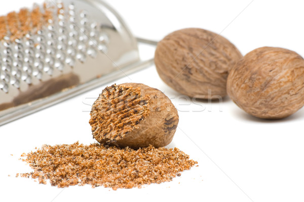 Nutmeg with grinder Stock photo © ShawnHempel