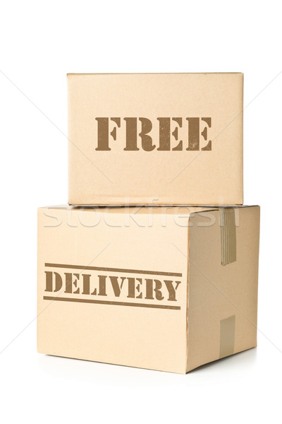 Two carton parcels with Free Delivery imprint Stock photo © ShawnHempel