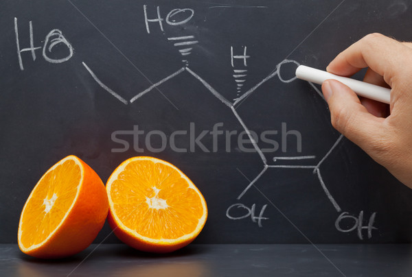 Vitamine c structure main dessin formule tableau noir Photo stock © ShawnHempel